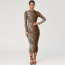2019 women fashion <strong>agent</strong> fall boutique outfits turtleneck bodycon tiger print long dress