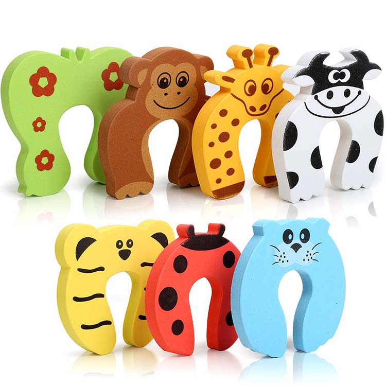 stopper door soft animal Green healthy funsafe u shaped EVA  unique child safety sliding door stopper wall mounted