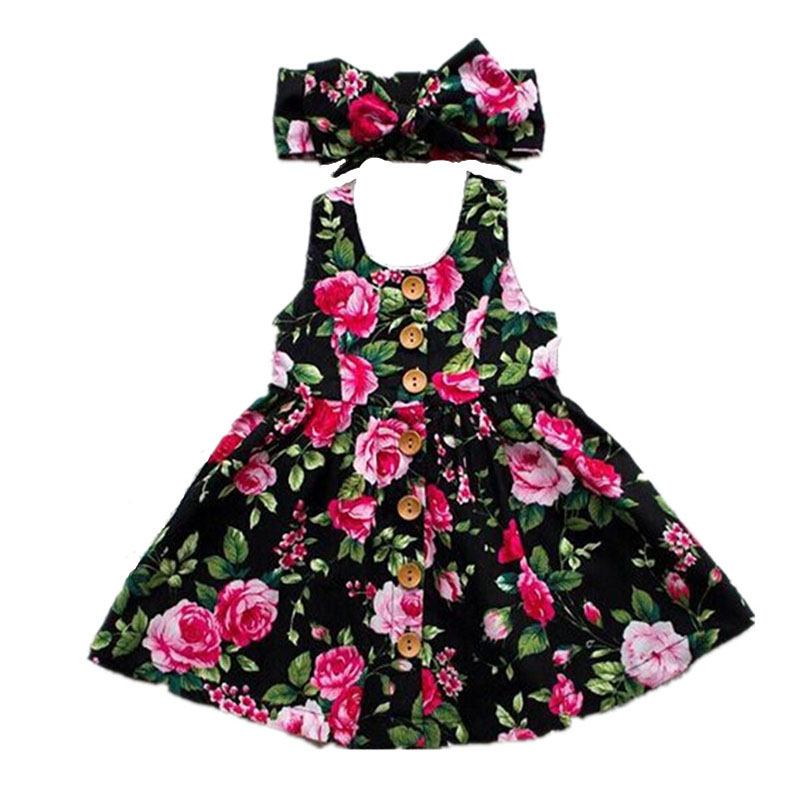 Girl Lace 2019 3D Emerald Cotton Rose Print Fabric Frock Flower Baby Dress