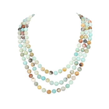 145cm Fashion Women Handmade Bead 8mm Natual Amazonite Stone Knotted Long Necklace