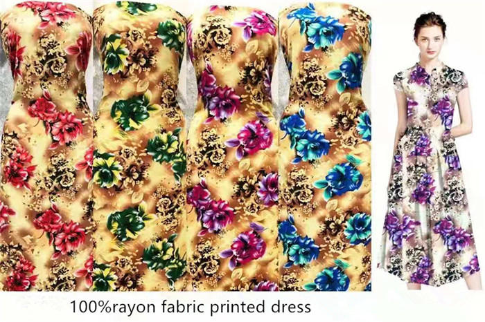 high quality hawaiian dress style print flowers rayon fabric 110gsm and 120gsm