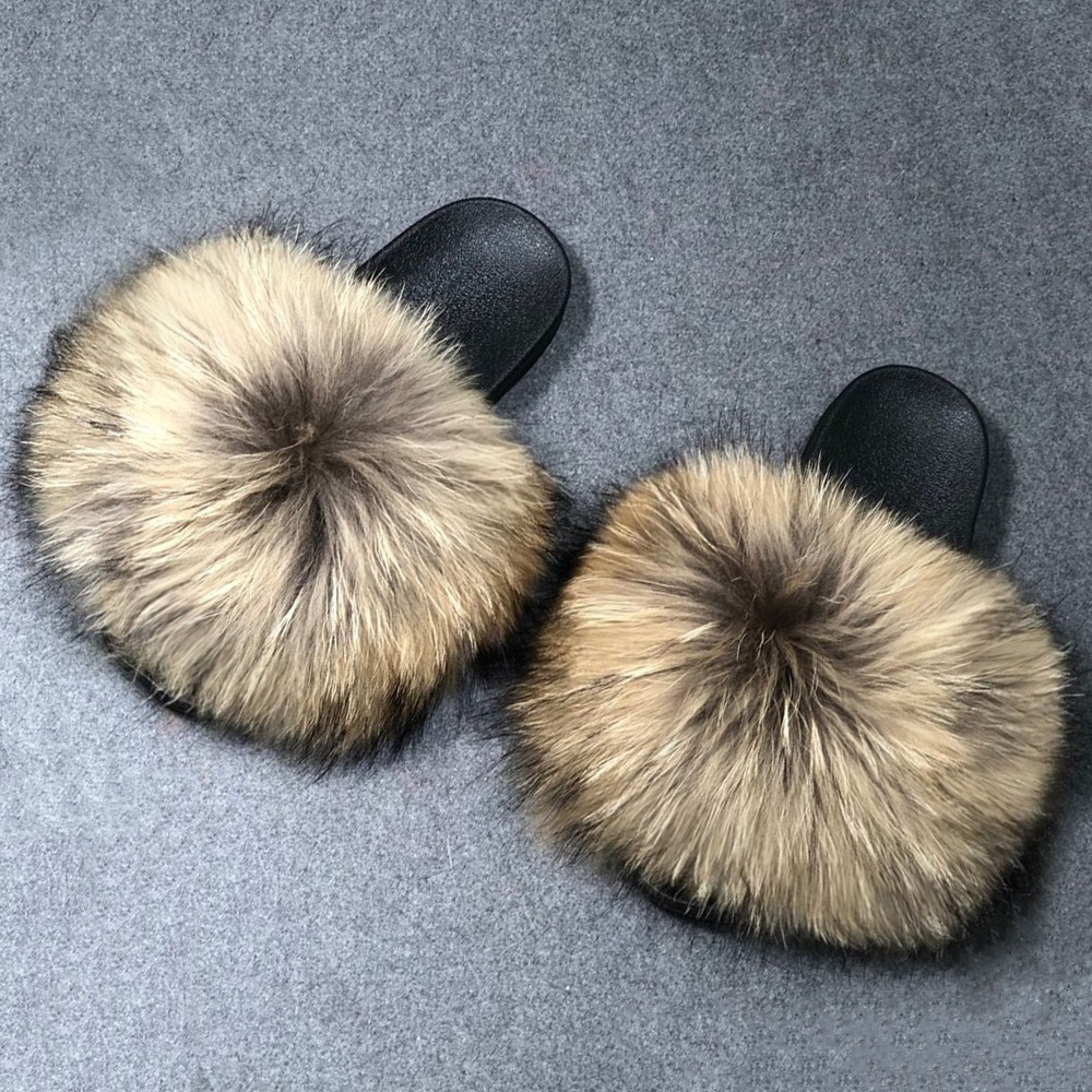 PROMOTION PRICE Wholesale REAL BIG FUR <strong>slippers</strong> flush soft raccoon fur <strong>slipper</strong> outdoor slider sandals fox fur slides for women