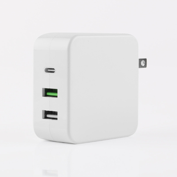USB C Wall Charger 65W Fast Portable 3 Port Charger USB-C QC PD 3.0 Power Adapter Type C Charging Block for Laptop MacBook iPad