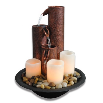hot meditaition resin decorative water fountain with candle