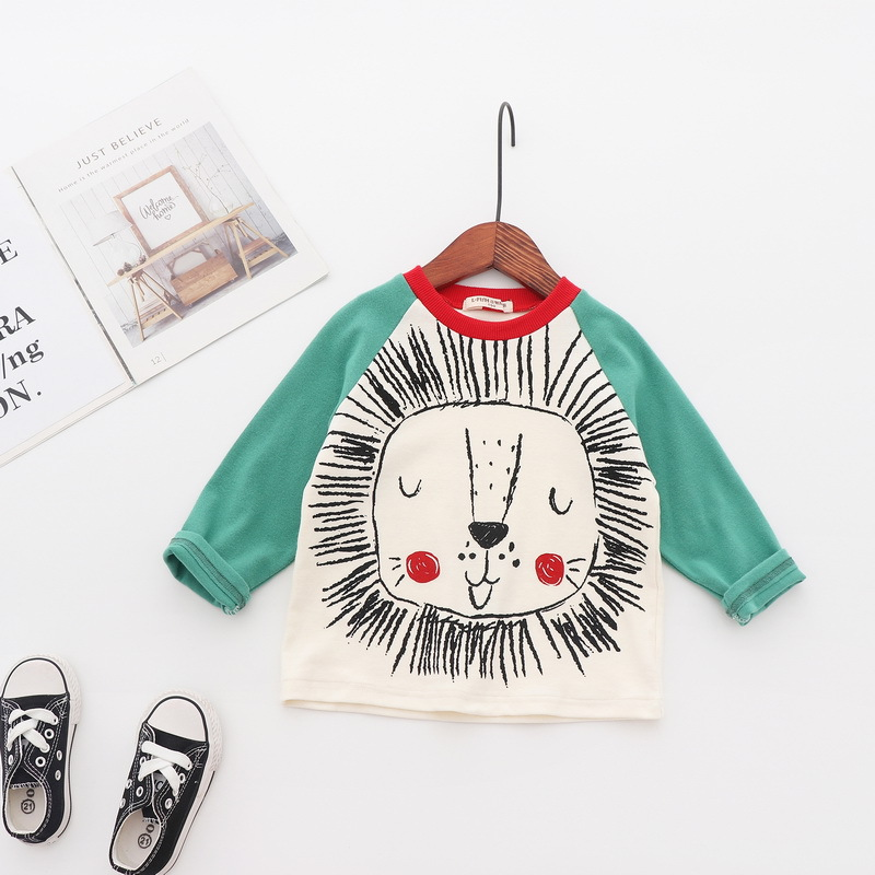 2019 summer new style kids boy tops animal pattern long sleeve colorful blouse
