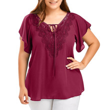 2020 Fashion Women Plus <strong>Size</strong> Summer Fashion Patchwork <strong>Lace</strong> up Blouse Ladies Tops