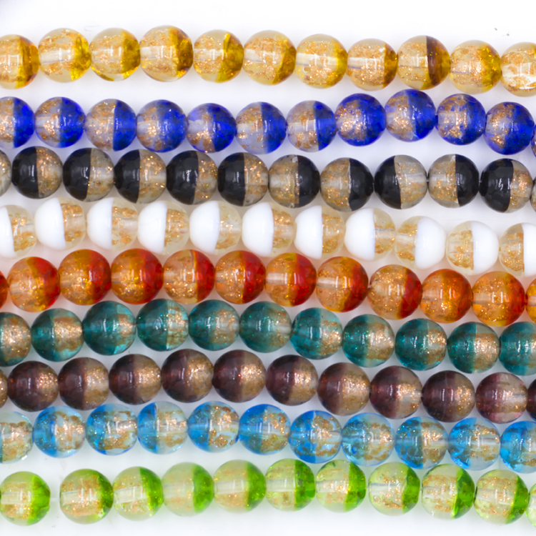 Beautiful gold foil crystal beads 12mm wholesale in factory price