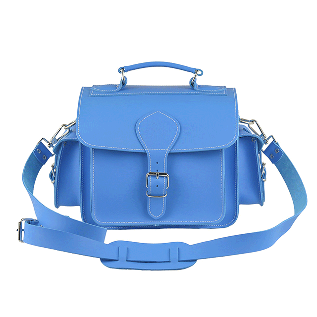 Waterproof Fashionable Leather Blue DSLR Camera Bag
