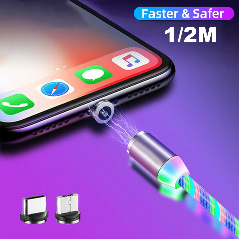 wholesale 3in1magnetic fast charging usb cable flowing light phone accessories cable usb led luminous micro usb cable