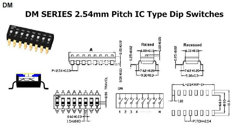 SMT SMD Dip Switch 9 position 18 PIN Micro DIP Switch