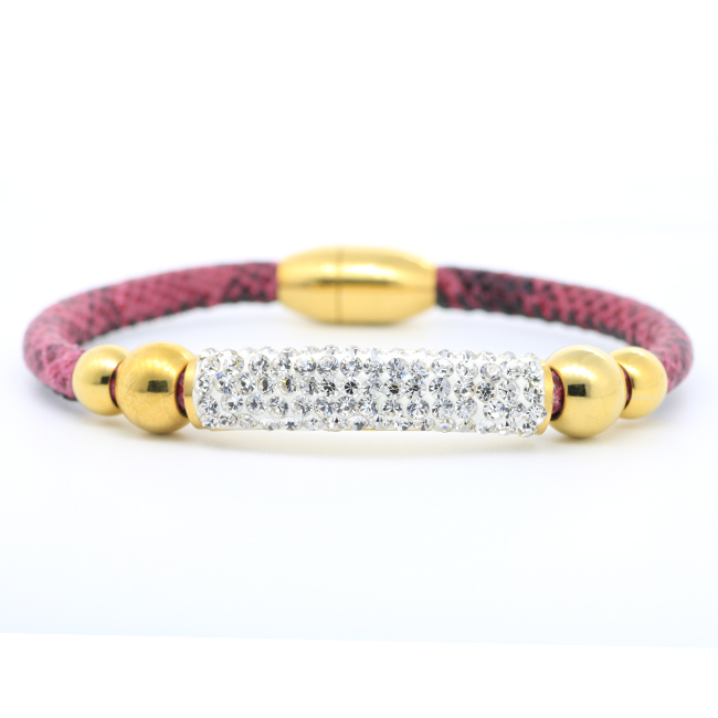 18K gold plating stainless steel jewelry bracelet natural Cubic zirconia decoration bracelet faux leather bracelet femme