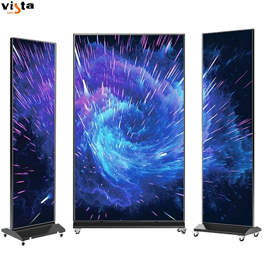 Hd video wireless remote control commercial advertising <strong>display</strong> screen 64*192cm 48*192cm Indoor mirror poster led
