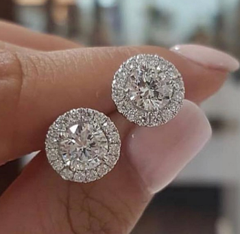 Wholesale bling rose gold zircon diamond stud earring for women 2020