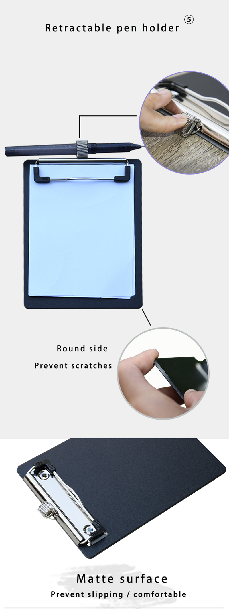 Black mini Clipboard Thickened foamed PP Profile Clip Hardboard Single Stainless steel Metal Legal with Retractable hook