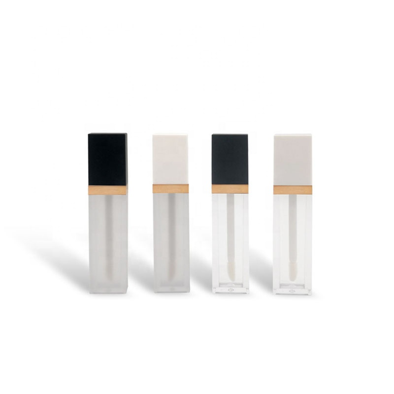 Factory price empty 7ml plastic square flat lip gloss <strong>tubes</strong> with black cap black cap
