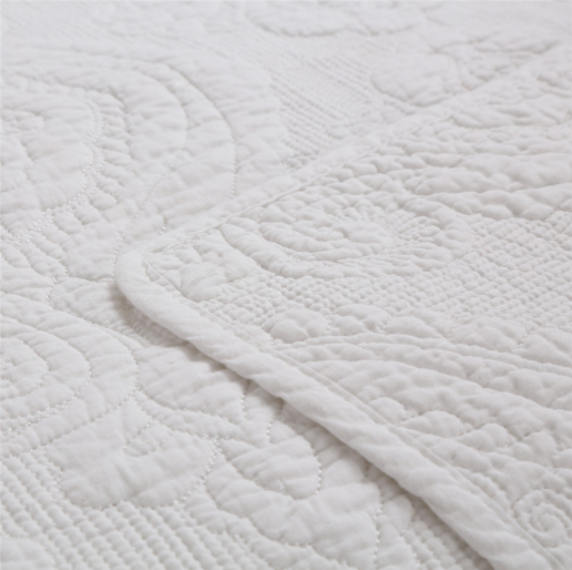 White jacquard cotton hotel home bedding bed cover quilts