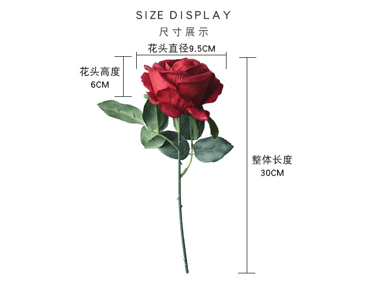 High quality single stem edge curl red velvet rose flower
