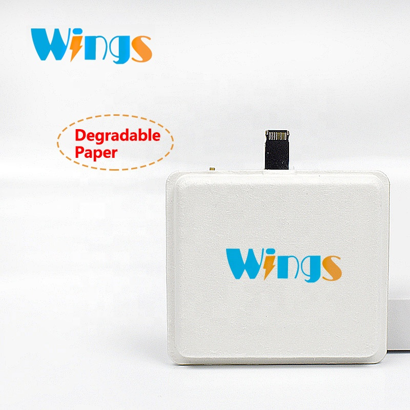 Wings mini 2 in 1 emergency small <strong>mobile</strong> phone disposable powerbank blue phone charger paper package box for power bank