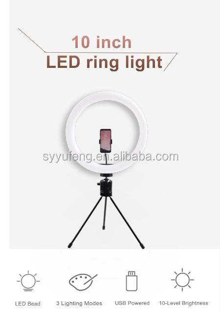 "10"" Mini LED Camera Light With Cell Phone Holder Desktop Ring Lamp LED Ring Light With Tripod Stand For YouTube Video and Makeup"