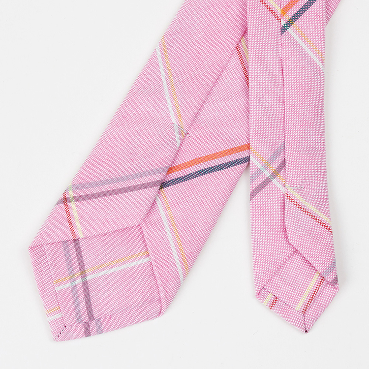 Custom Label Pink Wedding Ties Cotton Check Mens Necktie