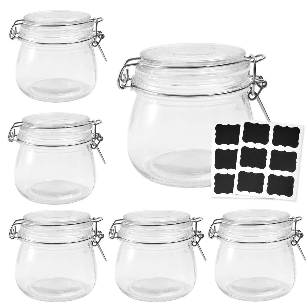 500ml 16OZ wholesale hermetic airtight clear Glass jam kilnar jar with mental clip for food factory