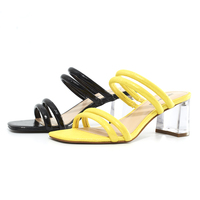 2020 New Fashion Summer Custom Mid Chunky Transparent Heel Women Dress Sandals Slip On Mules Shoes