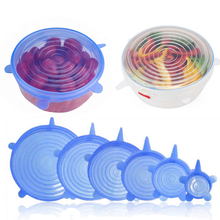6-Pack of Various Sizes Heat-Resistant Silicone Stretch Lids Cover for Bowl, Can, Jar, Glassware Safe in Dishwasher