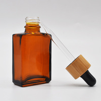 bamboo dropper cap for amber square glass essential oil/glass bottle with bamboo dropper