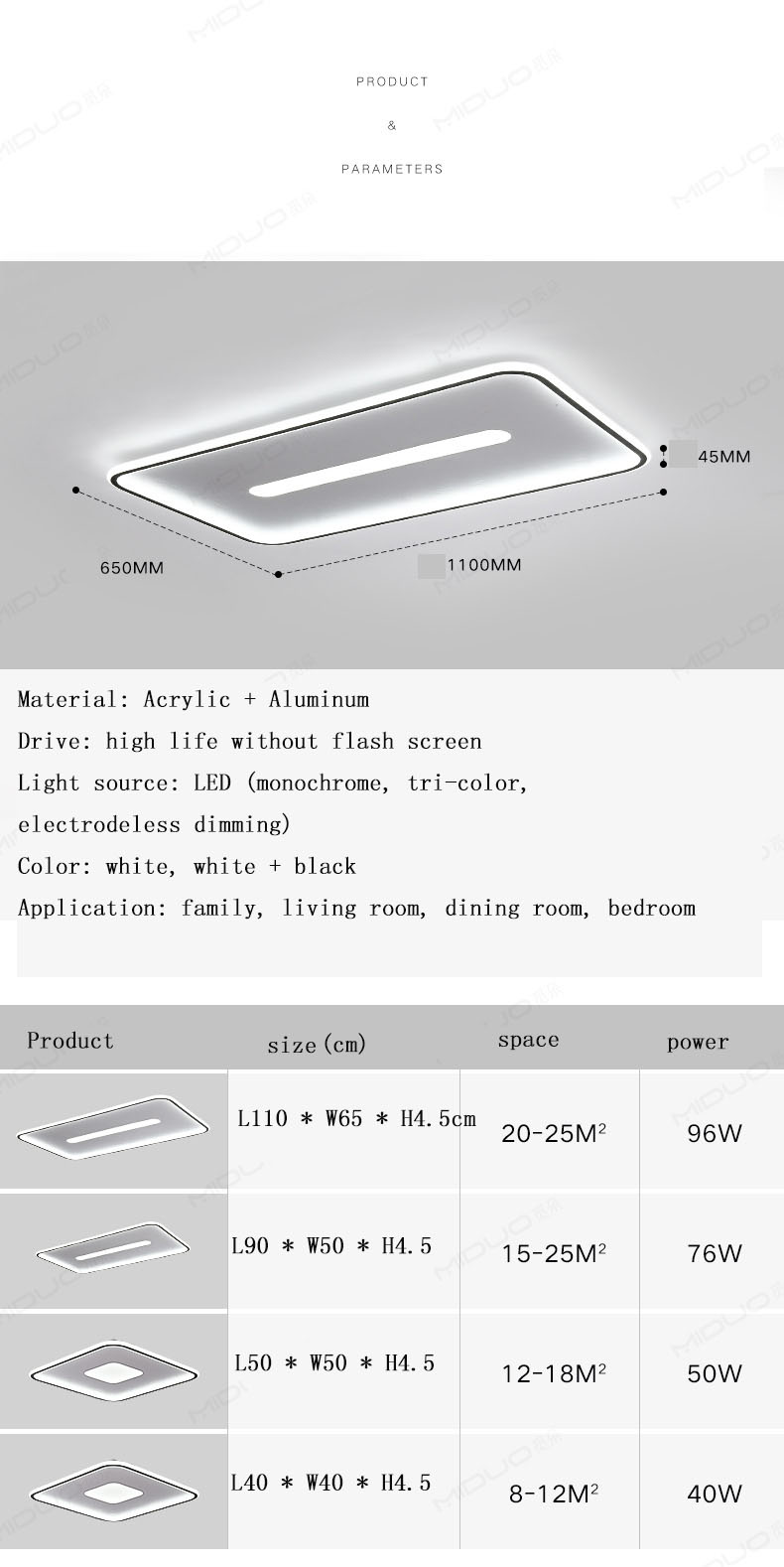 The new living room lamp led modern square ceiling lamp bedroom lamp ultra-thin lighting