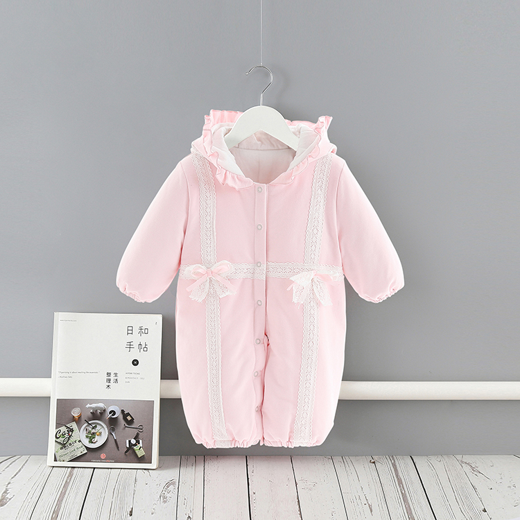 2-way long sleeve lace bow baby pajamas warm rompers & sleeping bags for winter