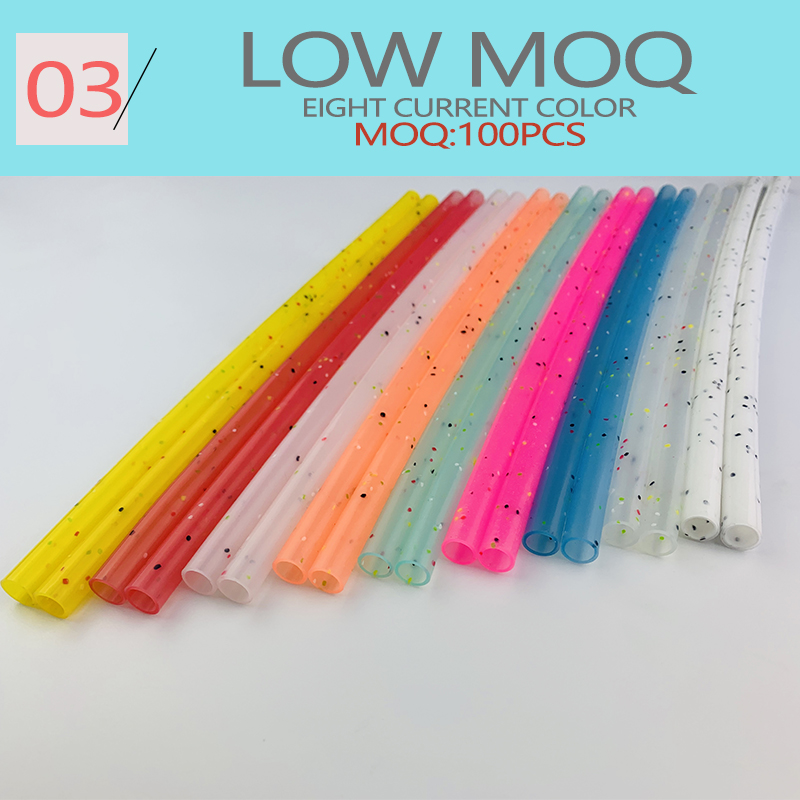 Wholesales Folding Reusable Silicone Drinking Multicolor Straws With Cleaning Brush