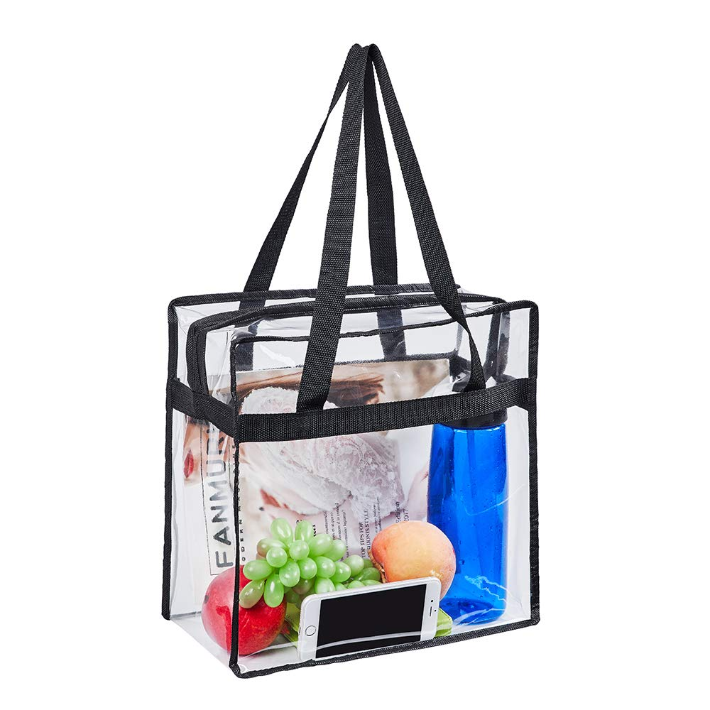 Personalized extra large black makeup transparent eco friendly clear shopping cosmetic pvc tote bag
