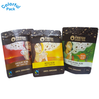 custom stand up empty green coffee tea ziplock packing aluminum foil paper pouch bag printing
