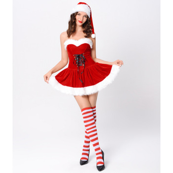 Sexy Off Shoulder Christmas Dress Carnival Cosplay Red Christmas Santa Fancy Dress