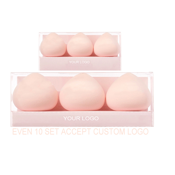 Newest Design 3pcs Fart Peach Super Soft Become Larger After Water Pink Makeup Beauty Cosmetic Blender Sponge Puff Set