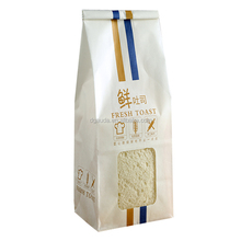 printed food grade self-sealing greaseproof kraft paper bags for 5-7 pieces toast or bread with clear window