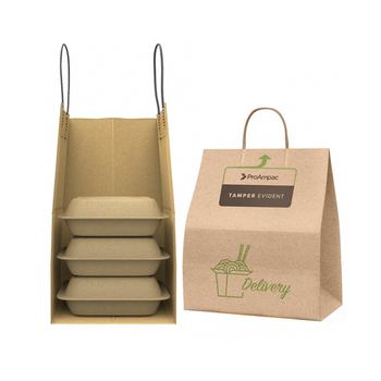 Customize logo multi-layer with handle restaurant catering takeaway to go take out brown kraft paper bag