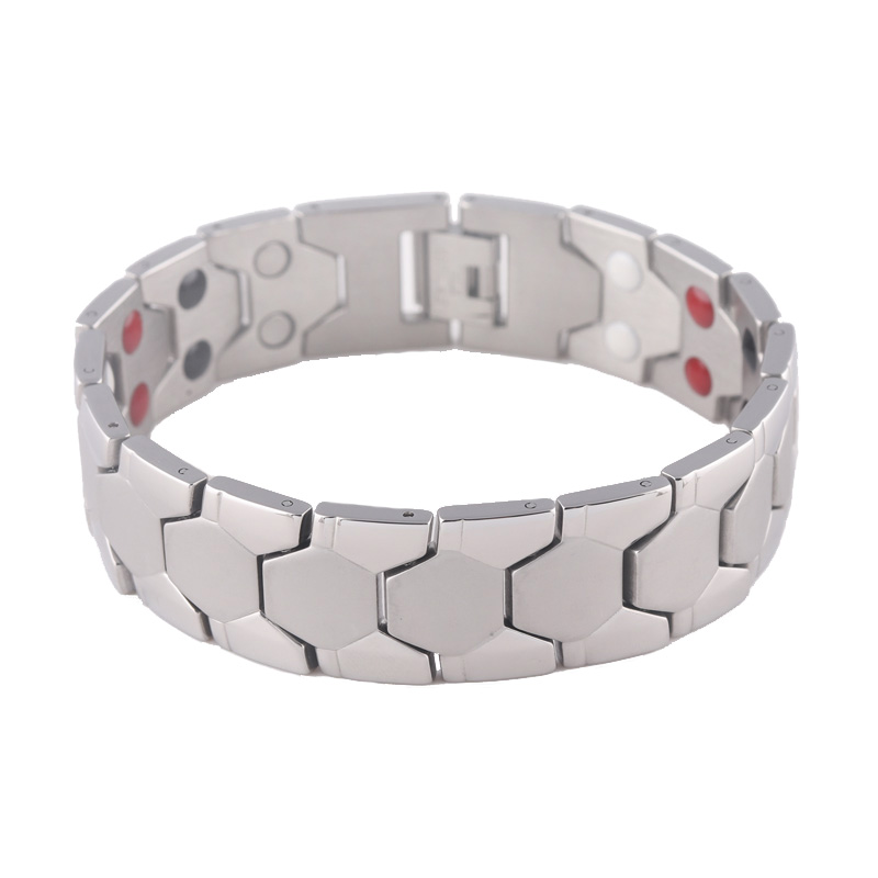 New Stock <strong>Jewelry</strong> 4 in 1 Germanium &amp; Magnetic Stainless Steel Bracelet For Men Accessory