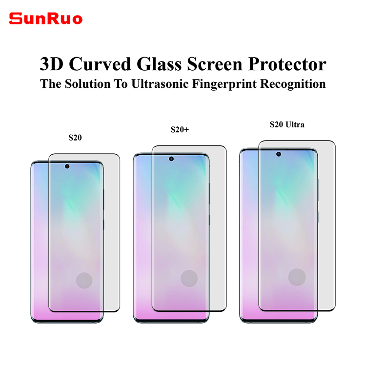 3D curved tempered glass screen protector for Samsung S20