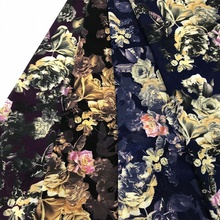 ready to ship products dress chiffon flower fabric digital printed 100% polyester material