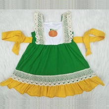 Halloween style <strong>Girls'</strong> <strong>dresses</strong> pumpkin print lace green <strong>dress</strong> with yellow waves lace hem kids clothing
