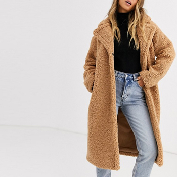 Solid Lapel Collar Faux Fur Open Front Longline Teddy Coat Ladies Solid Maxi Trench Coat in Tan