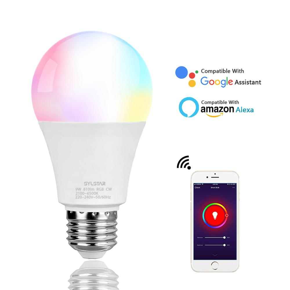 Tuya Google assistant Alexa 9W wifi rgb e26 e27 b22 dimmable smd lights raw material lamp home led smart <strong>bulb</strong>