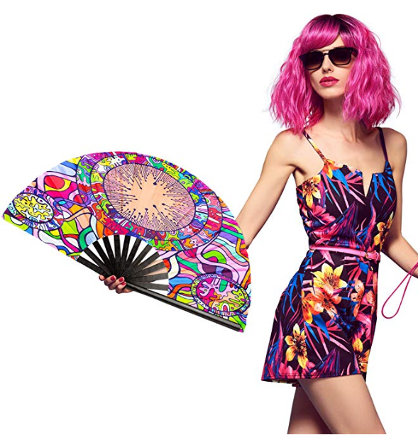 2019 Folding Oversized Handheld Accessories Hand Fan for Rave, Dance, Party, Festival, Performance, Home <strong>Decor</strong>