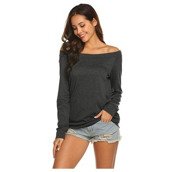 Sexy slim off shoulder blouse solid color long sleeve T shirts and tops fashion one - line collar off-the-shoulder women T-shirt