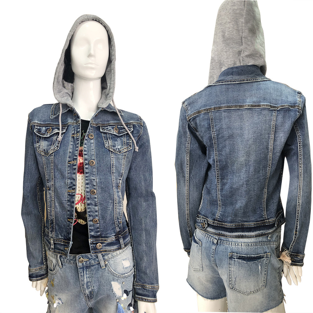 2020New design wash long sleeve women's hooded <strong>hole</strong> slim slim denim jacket