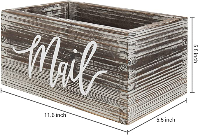 Rustic Torched Wood Box Tabletop Decorative Mail Holder Box