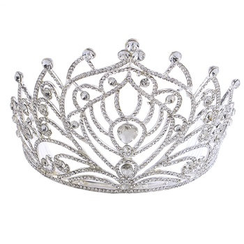 Baroque exquisite European bride queen big crown crystal glass diamond wedding tiara crown