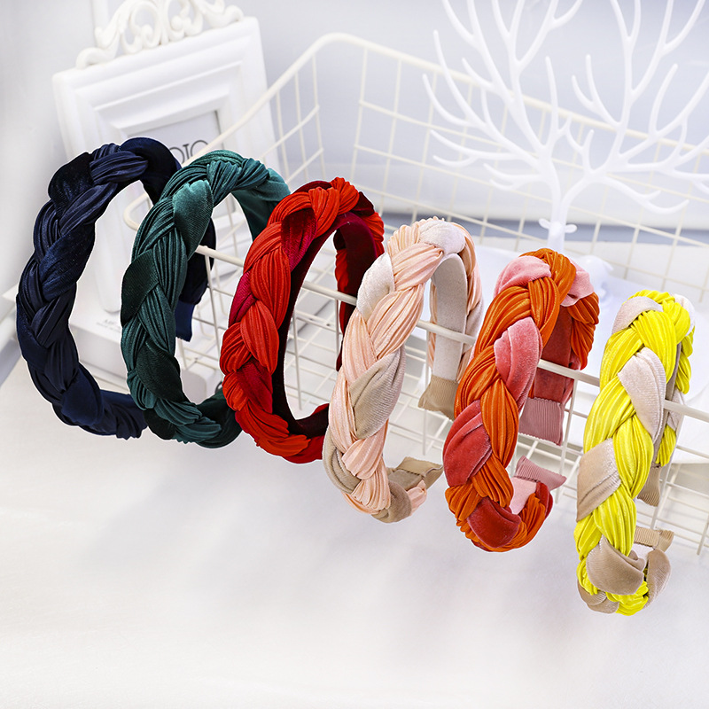 New Design Braided <strong>Hair</strong> Hoop Double Colors Fashion <strong>Accessories</strong> Velvet Fabric Art Head Hoop Women <strong>Hair</strong> <strong>Accessories</strong> Wholesale