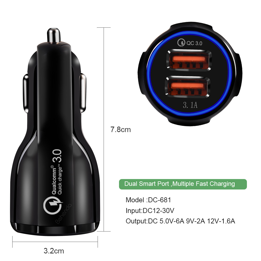 OEM 3.1A Portable Qualcomm Phone fast Charger 2 Port Usb Car Charger Quick Charge 3.0 Car Charger Dual usb